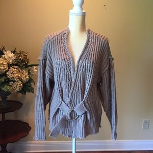 Mustard seed gray belted cardigan sweater EUC S